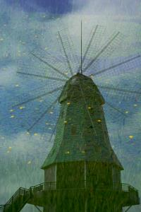 アサザに泳ぐ風車
